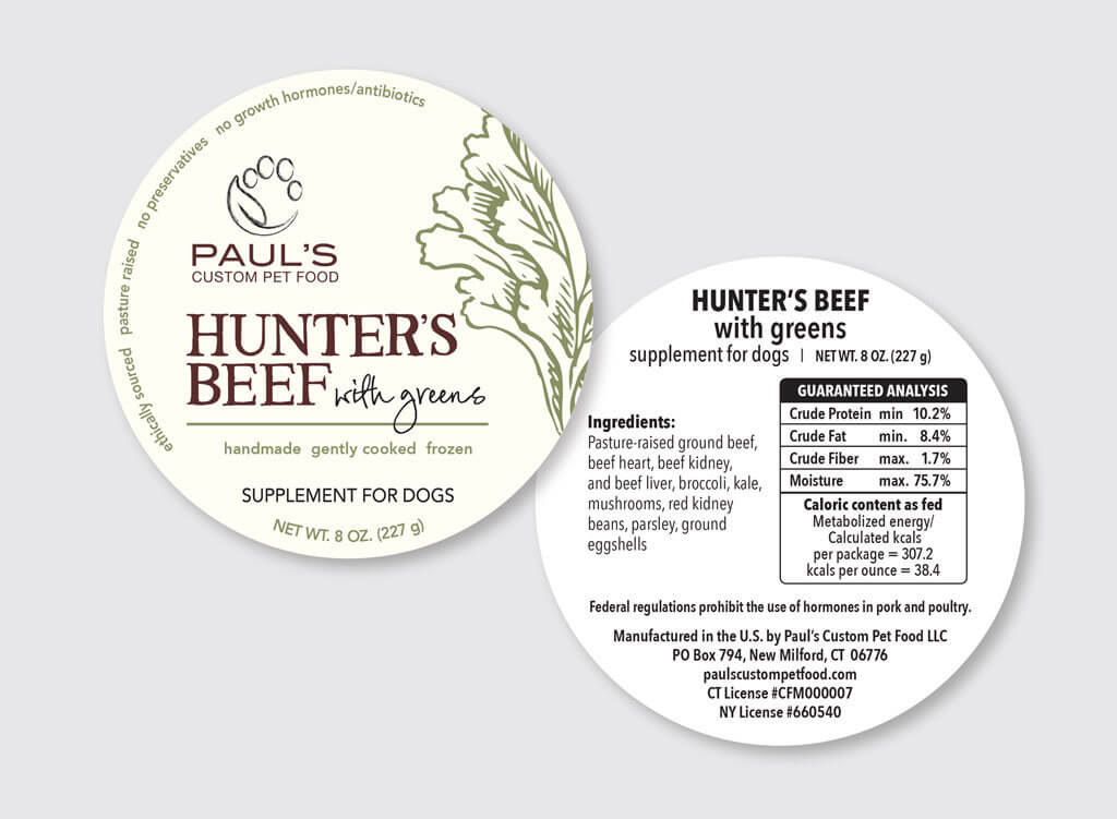Paul's Custom Pet Food Labels